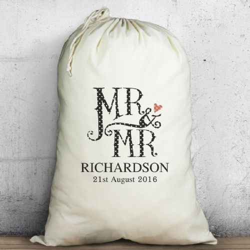 Personalised Male Wedding Heavy Cotton Sack